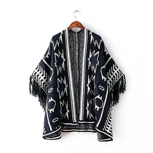 [grxjy56002547]ethnic floral print tassels cuff knitting cardigan