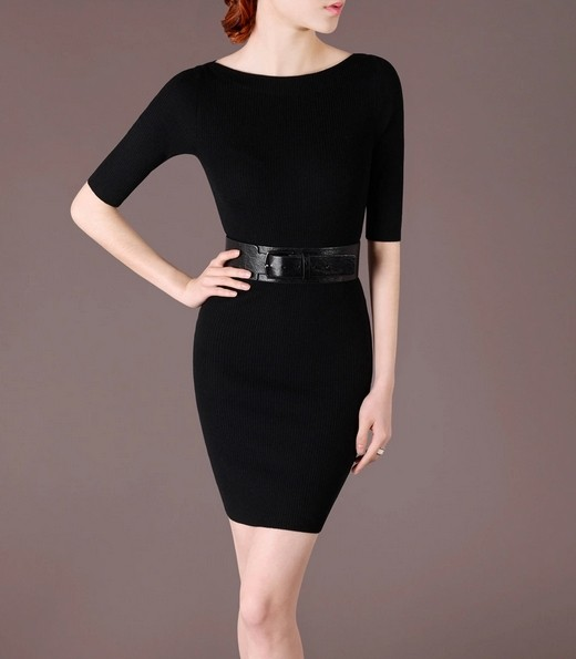 Black Elegant Noble Summer OL Slim Short Sleeve Women Fashion Sweater Dress lml7017 - ott-123 - Global Online Shopping for Dresses