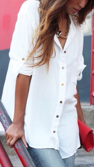 blouse white button up top gold buttons