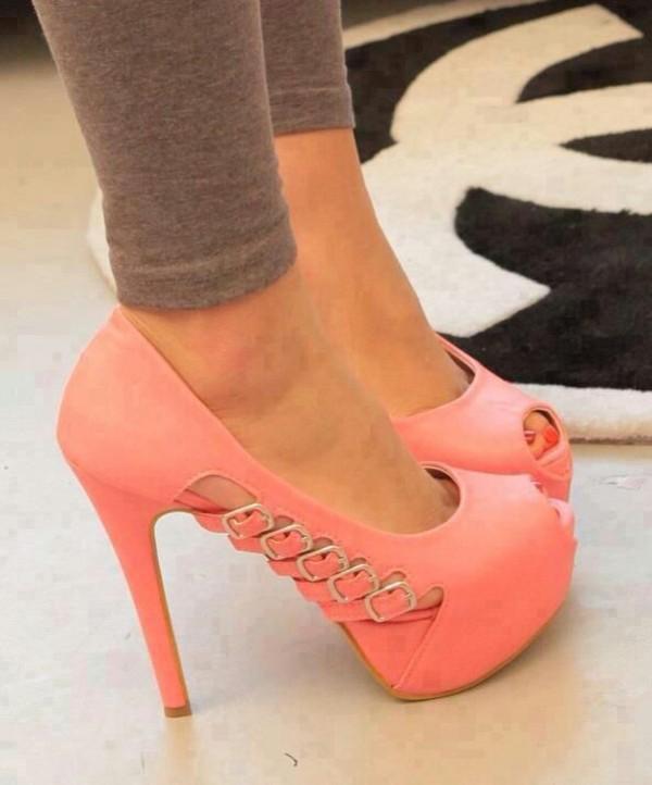 shoes high heels apricot plateau shoes