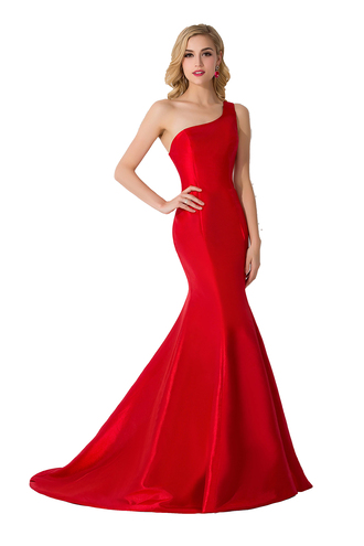 dress sexy one shoulder dress red prom dress taffeta dress 2016 red evening dresses