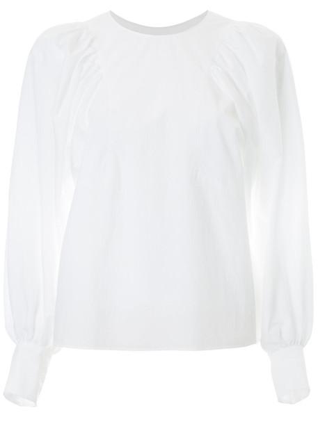 Des Pres blouse women white cotton top