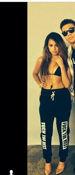 the black white cool pants rest jasmine villegas jasmine v pants sport leggings sweatpants quote on it