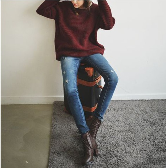 jeans ripped jeans wine sweater burgundy warm fall outfits comfy oversized sweater