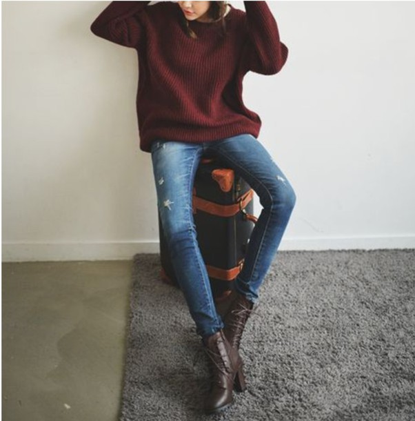 Burgundy Sweater Wine Warm Fall Outfits Comfy Oversized Sweater
