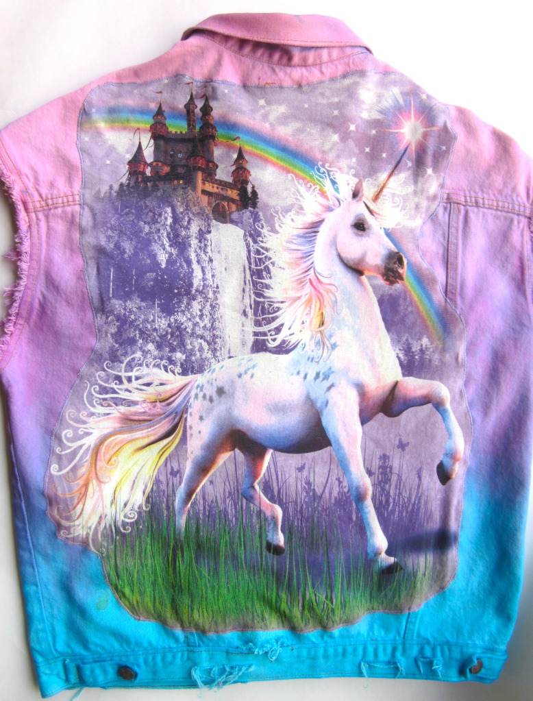 Vtg Levis Rainbow Tie Dye UNICORN STUDDED Ripped Cut Off Denim Jacket VEST XL | eBay