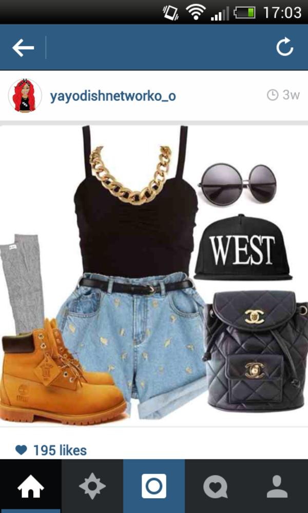 shorts shirt shoes sunglasses