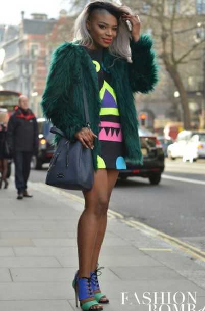 dress coat geometric colorful pink yellow blue dress green high heels fashion week london fashion week