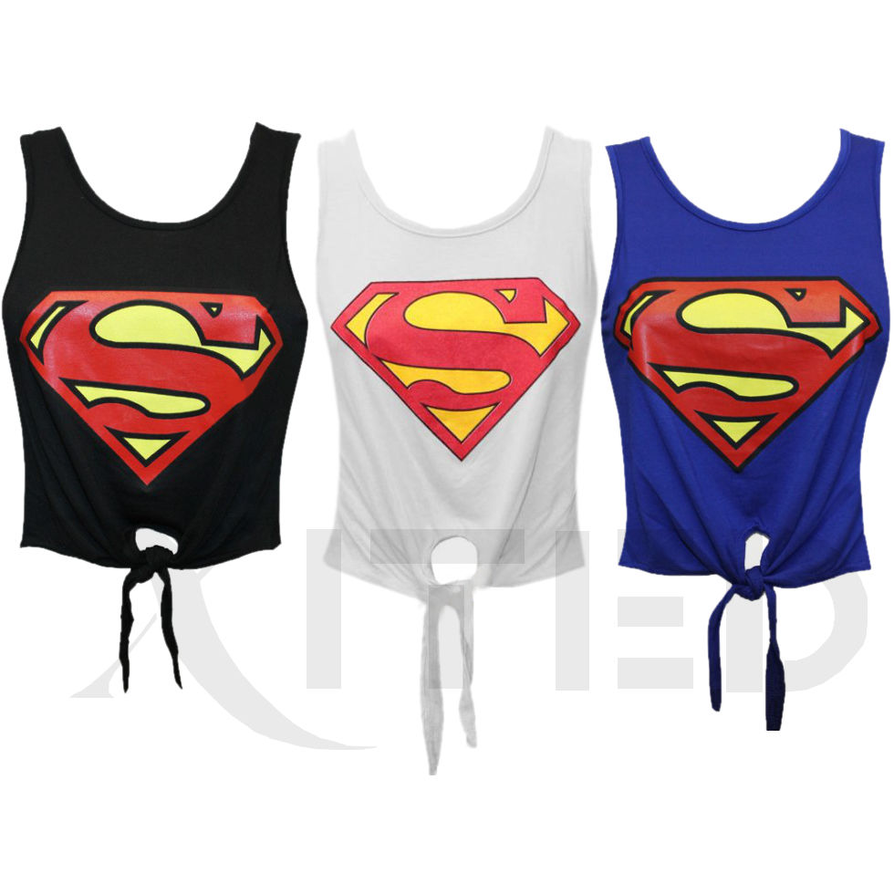 LADIES SUPERMAN LOGO CROP TOP T SHIRT VEST TIE VEST UK SIZE 8 10 12 14 | eBay