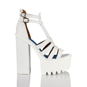 Neve strappy block heel shoes in white