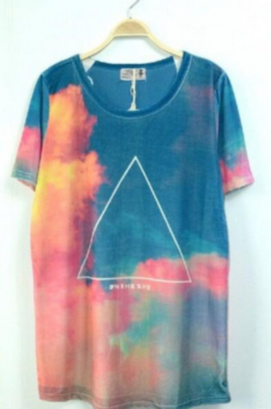 beautiful shirt orange shirt tumblr shirt triangle oversized t-shirt loose shirt cute must have clouds colorful blue t-shirt rose wheretoget? lovely amazing