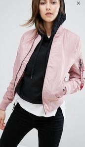 coat,asos,pink,bomber jacket
