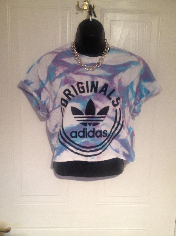 Unisex customised adidas acid wash tie dye cropped t shirt festival swag