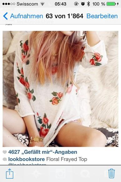 top floral floral pullover