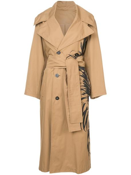 oscar de la renta coat trench coat women nude cotton