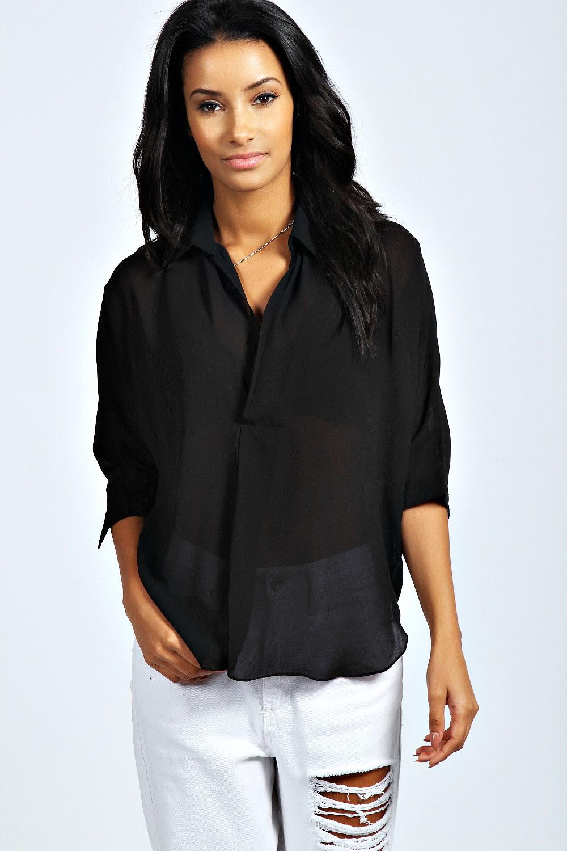 Danielle Wrap Front Oversized Blouse