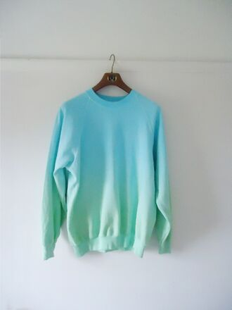 sweater tumblr ombre ombre sweater blue green sweet swag fashion style cool great 2014 sweatshirt