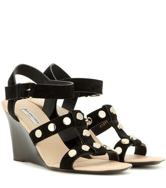 embellished sandals wedge sandals suede black shoes