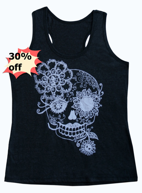 Cute skull tank top singlet shirt size s m l light black vintage flower shirt print sleeveless top apparel outfits