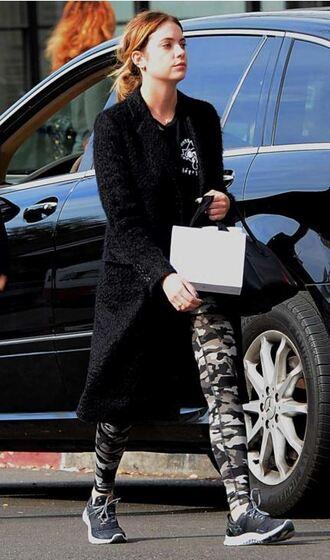 coat sneakers ashley benson leggings sweatshirt sweater top shoes