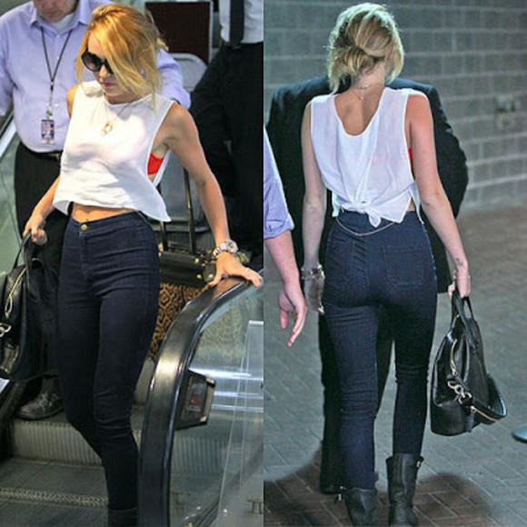 american apparel jeans bag shirt miley cyrus high waisted jeans boots