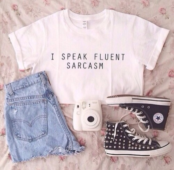 shirt shoes jeans white top quote on it converse black sneakers studded studs denim shorts shorts outfit polaroid camera white t-shirt t-shirt crop tops half cut denim shorts high top converse casual tank top jewels top sarcasm white fashion funny shirt style cute shirt tumblr outfit tumblr shoes blouse coat i speak fluent sarcasm black cool cool girl style trendy girly white crop tops