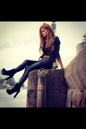 shoes fitness fit fashion sexy high heels black style girl leather high heels blonde hair jacket leggings