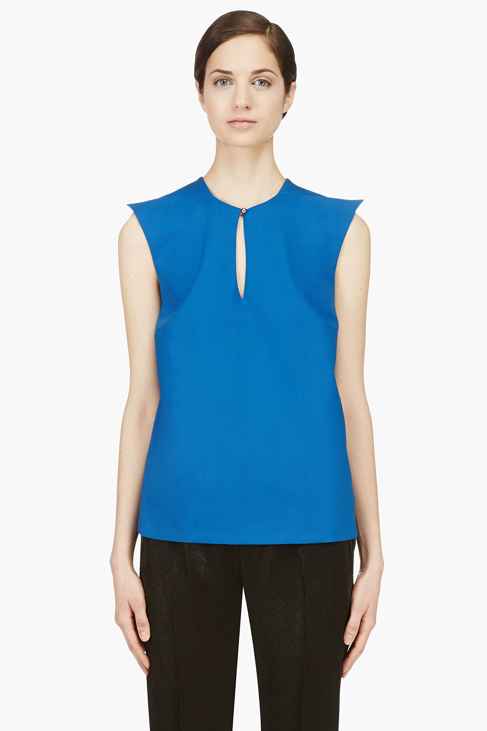 mugler blue wool peaked shoulder blouse