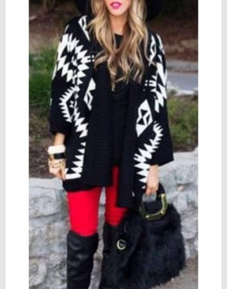 cardigan cute aztec coat knitted cardigan black fall outfits fashion kawaii girly clothes sweater