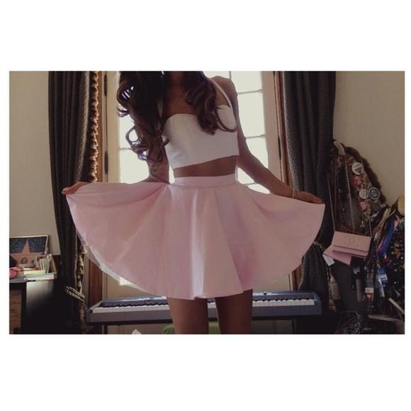 skirt clothes crop tops pink skirt vintage Pin up white crop top high waisted skirt