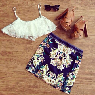 blouse white tank top hot bra flowers skirt shoes