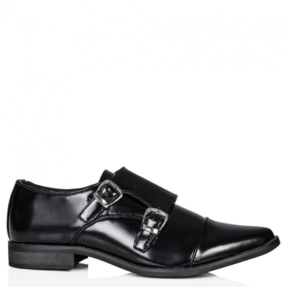 Buy INTIMATE Flat Buckle Pointed Toe Shoes Black Patent Online