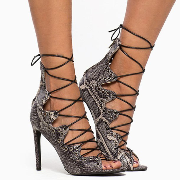 16960ce2790 shoes heels snake print lace up lace up heels strappy strappy heels