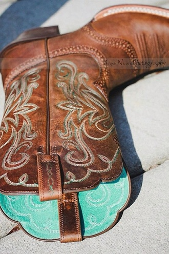shoes blue cowboy boots tiffanyblue brown boots