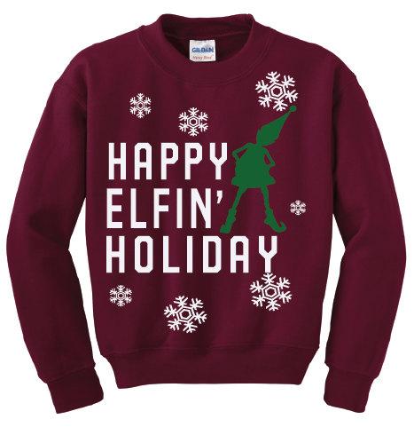 Happy Elfin Holiday Sweatshirt Christmas Sweatshirt Christmas