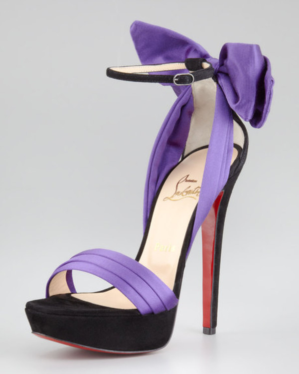 Christian Louboutin Vampanodo Satin Bow Sandal Purple - $140.42 ...