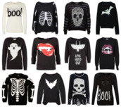 sweater,halloween sweater,halloween,skull,rib cage,black,white and black sweater,black sweater