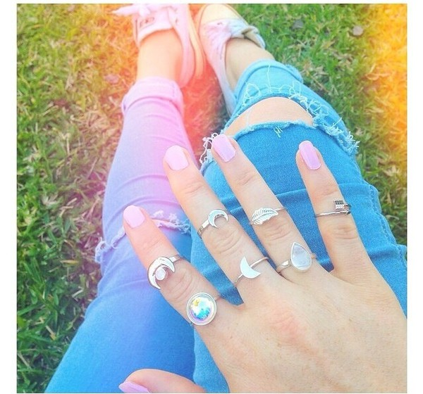 jewels ring nail polish rings cute summer