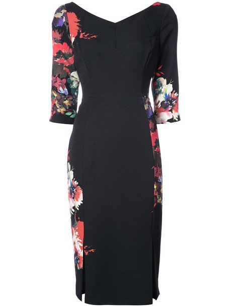 Black Halo dress women spandex floral print black