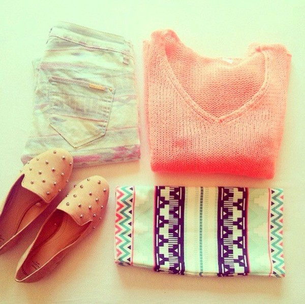 shoes pink sweater jeans skirt