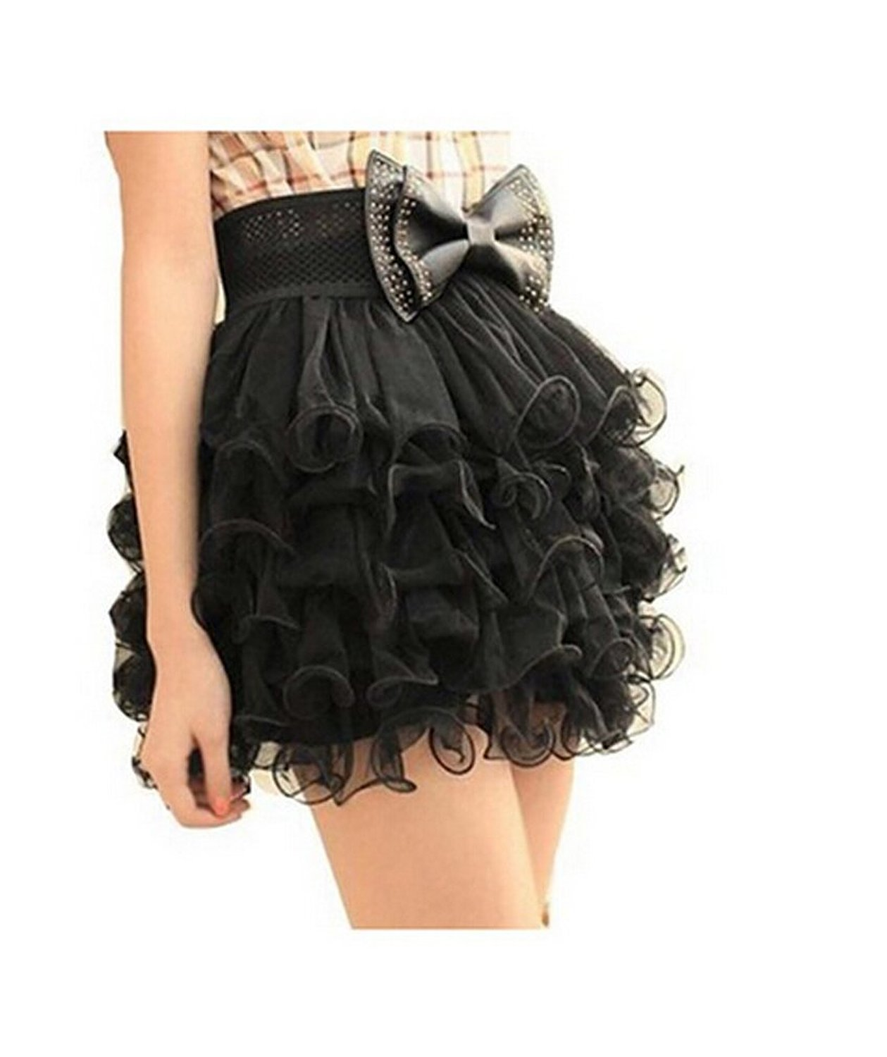 Amazon.com: outop girls black 5 layer full tutu tulle tier mini dress cake skirt: clothing