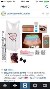 tie dye,shorts,tank top,starbucks coffee,phone cover,ripped shorts