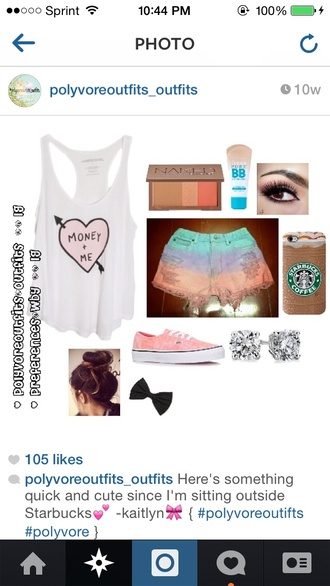 tie dye shorts tank top starbucks coffee phone cover ripped shorts