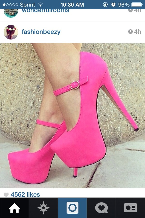 Fuchsia Mary Jane Platform Heels Faux Leather