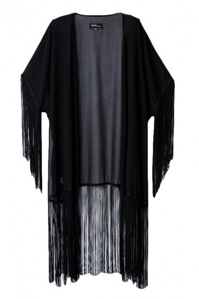 Charming black tasel hem chiffon kimono cardigan