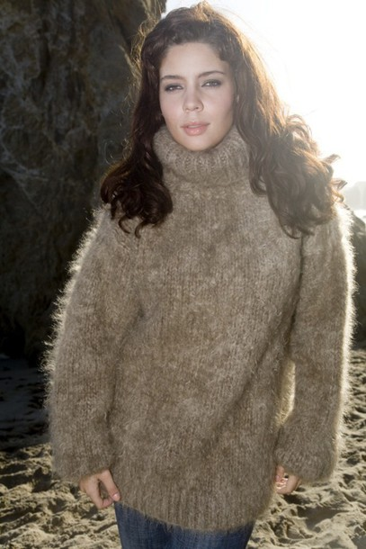 Sweater: brown sweater, mohair sweater, angora sweater, turtleneck ...