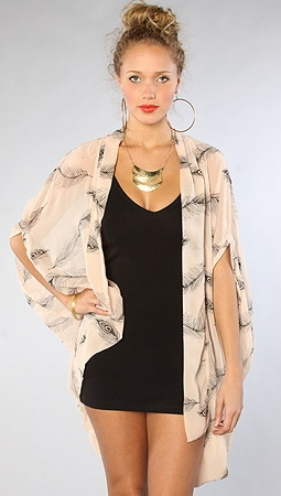 Feather Print Cardigan in Pink by Reverse Brand Clothing at Apparel Addiction - Wrap - Chiffon - Cocoon - Sheer