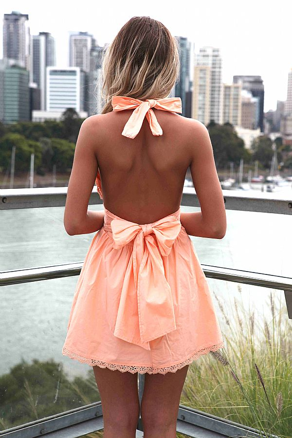 Orange Mini Dress - Light Orange Halter Dress with | UsTrendy