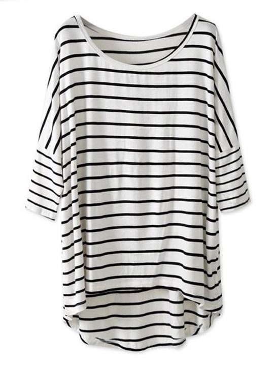 Nextshe 2014 white & black striped batwing sleeve oversized tee