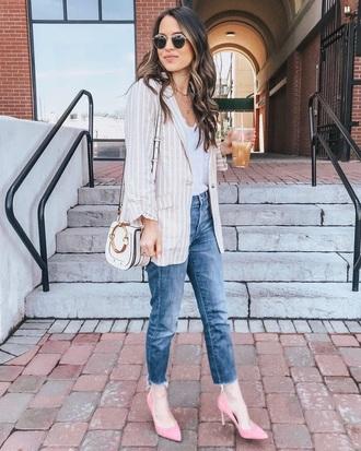 shoes pumps pink pumps blue jeans ripped jeans sunglasses top white top blazer striped blazer jeans